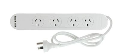 Pudney 4 Way Surge Protector with 2 USB Ports