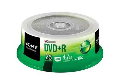 Sony 25 Pack DVD+R Data Storage Media Spindle Case