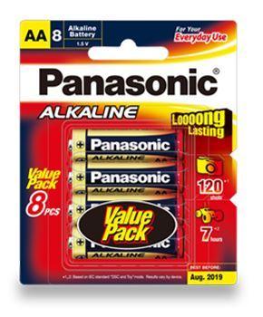 Panasonic AA 8 pack Alkaline Batteries
