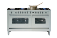 ILVE 150cm Stainless Steel Gas Cooker with Double Oven