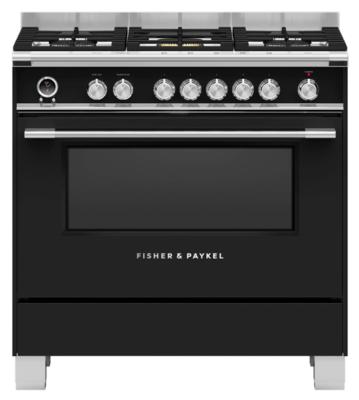 Fisher & Paykel 90cm Freestanding Dual Fuel Cooker Black