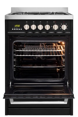 Parmco 600mm free standing gaselectric stove   black 2