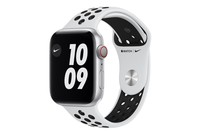 Apple Watch Nike Series 6 GPS + Cellular, 44mm Silver Aluminium Case with Pure Platinum/Black Nike Sport Band - Regular