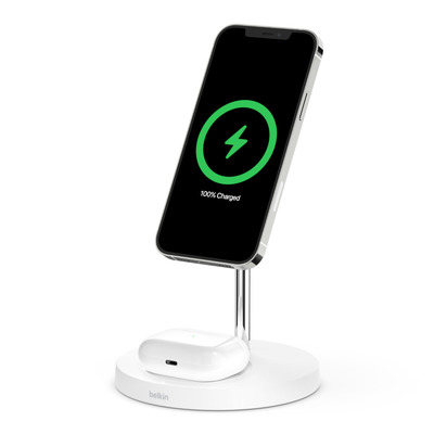 Belkin 2-in-1 Magnetic Wireless Charger Stand White