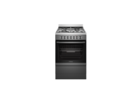Westinghouse 60cm Dark Stainless Steel Electric Freestanding Cooker with 4 Burner Gas Cooktop