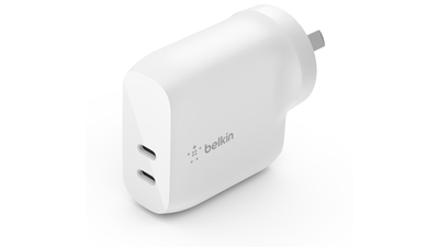 Wcb006auwh belkin dual usb c pd wall charger white