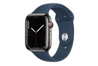 Apple Watch Series 7 GPS + Cellular 45mm Graphite Stainless Steel Case Abyss Blue Sport Band